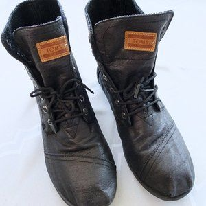 Tom's Black Coated Canvas Lightweight Boots Mens 8